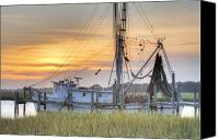 Sunset Digital Art Canvas Prints - Shrimp Boat Sunset Charleston SC Canvas Print by Dustin K Ryan