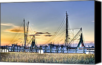 Sunset Canvas Prints - Shrimp Boats Canvas Print by Drew Castelhano