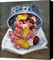 Louisiana Seafood Canvas Prints - Shrimp Boil Canvas Print by Elaine Hodges