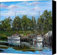 Swamp Canvas Prints - Shrimping Boats Canvas Print by Dianne Parks
