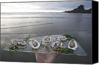 Adult Only Canvas Prints - Shucked Oysters Sit On A Platter Held Canvas Print by Taylor S. Kennedy