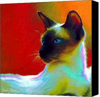 Impressionistic Art Canvas Prints - Siamese Cat 10 Painting Canvas Print by Svetlana Novikova