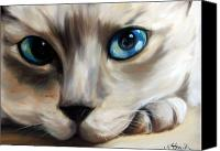 Hanging Pastels Canvas Prints - Siamese Cat Eyes Canvas Print by Mary Sparrow Smith