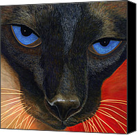 Pet Photography Painting Canvas Prints - Siamese Canvas Print by Karen Zuk Rosenblatt