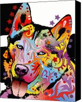 Dean Russo Mixed Media Canvas Prints - Siberian Husky 2 Canvas Print by Dean Russo