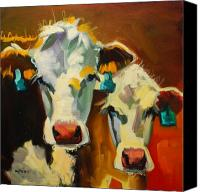 Animal Canvas Prints - Sibling Cows Canvas Print by Diane Whitehead