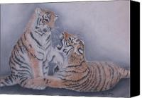 Wet Pastels Canvas Prints - Sibling Rivalry Canvas Print by Sheila Banga