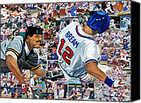 Major League Baseball Painting Canvas Prints - Sid Bream Slide Canvas Print by Michael Lee