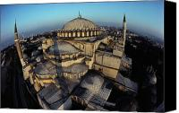 Byzantine Photo Canvas Prints - Side Domes And Minarets Gather Canvas Print by James L. Stanfield