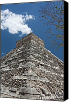 Mexico Canvas Prints - Side View Of Chichen Itza Pyramid Canvas Print by L. Bressand