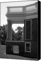 Octagonal Canvas Prints - Side View South Portico BW Canvas Print by Teresa Mucha