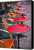 Tables Canvas Prints - Sidewalk cafe in Paris Canvas Print by Elena Elisseeva