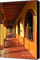 Shopping Canvas Prints - Sidewalk in Tlaquepaque district of Guadalajara Canvas Print by Elena Elisseeva