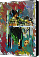 Corel Painter Canvas Prints - Sidewalk Sales Canvas Print by Dale Stillman