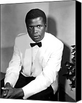 Tuxedo Canvas Prints - Sidney Poitier, On The Set For The Film Canvas Print by Everett