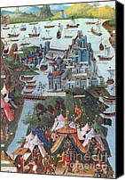 Byzantine Canvas Prints - Siege Of Constantinople, 1453 Canvas Print by Photo Researchers