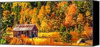 Sierra Canvas Prints - Sierra Nevada Aspen Fall Colors with Rustic Barn Canvas Print by Scott McGuire