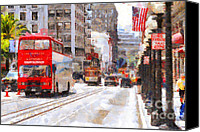 Powell Street Digital Art Canvas Prints - Sightseeing Along Powell Street In San Francisco California . 7D7269 Canvas Print by Wingsdomain Art and Photography