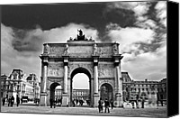 Entrance Canvas Prints - Sightseeing at Louvre Canvas Print by Elena Elisseeva