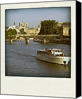 Ile De France Canvas Prints - Sightseeings on the river Seine in Paris Canvas Print by Bernard Jaubert