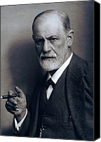Viennese Canvas Prints - Sigmund Freud 1856-1939 Smoking Cigar Canvas Print by Everett