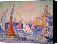 Signac Canvas Prints - Signac: St. Tropez Harbor Canvas Print by Granger