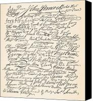 Founding Fathers Painting Canvas Prints - Signatures attached to the American Declaration of Independence of 1776 Canvas Print by Founding Fathers