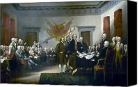 Thomas Jefferson Painting Canvas Prints - Signing The Declaration Of Independance Canvas Print by War Is Hell Store