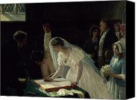 Ceremony Canvas Prints - Signing the Register Canvas Print by Edmund Blair Leighton