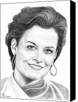 Famous Drawings Canvas Prints - Sigourney Weaver Canvas Print by Murphy Elliott