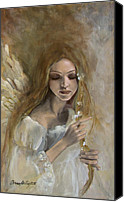 Figurative Canvas Prints - Silence Canvas Print by Dorina  Costras