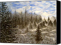 Snowy Night Painting Canvas Prints - Silent forest  Canvas Print by Irina Astley