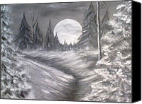 Snowy Night Painting Canvas Prints - Silent Night  Canvas Print by Irina Astley