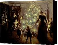 Christmas Painting Canvas Prints - Silent Night Canvas Print by Viggo Johansen