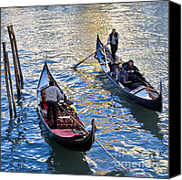 Gondoliers Canvas Prints - Silently Drifting Gondolas Canvas Print by Heiko Koehrer-Wagner