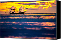 Huahin Canvas Prints - Silhouette boat at sea Canvas Print by Arthit Somsakul