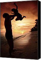 Son Canvas Prints - Silhouette Family Of Child Hold On Father Hand Canvas Print by Anek Suwannaphoom