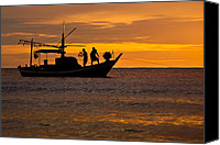Huahin Canvas Prints - Silhouette Fisherman Boat Sunset Huahin Thailand Canvas Print by Arthit Somsakul