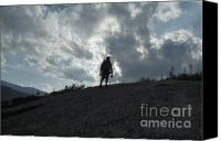 White Mountains Canvas Prints - Silhouette of a hiker on Middle Sugarloaf Mountain - White Mountains New Hampshire USA Canvas Print by Erin Paul Donovan