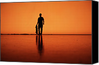 Berlin Canvas Prints - Silhouette Of Man With Skateboard, Berlin Canvas Print by Atomare Aufruestung