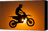 Adults Only Canvas Prints - Silhouette Of Motocross At Sunset Canvas Print by Shahbaz Hussain