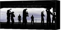 Color Stretching Canvas Prints - Silhouette Of Sailors In The Hangar Bay Canvas Print by Stocktrek Images
