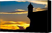 Puerto Rico Canvas Prints - Silhouette of the Walls of El Morro Canvas Print by George Oze