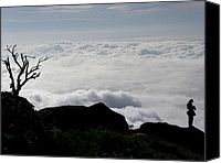 Nawarat Namphon Canvas Prints - Silhouette photographer with group of clouds and fogs Canvas Print by Nawarat Namphon