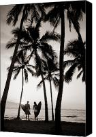 Surf Lifestyle Canvas Prints - Silhouetted Surfers - Sep Canvas Print by Dana Edmunds - Printscapes