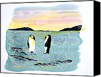 Winter-landscape Tapestries - Textiles Canvas Prints - Silk Penguins Canvas Print by Carolyn Doe