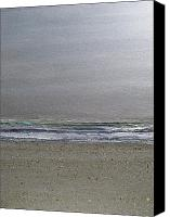 Waves Mixed Media Canvas Prints - Silver Beach Canvas Print by Gail Hinchen