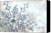 Snowy Night Canvas Prints - Silver blue snowflake  Canvas Print by Sandra Cunningham