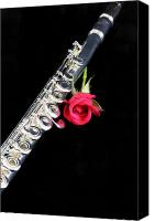 Canvas Wrap Canvas Prints - Silver Flute Red Rose Canvas Print by M K  Miller