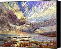 Storm Clouds Pastels Canvas Prints - Silver Lining Canvas Print by Pamela Pretty